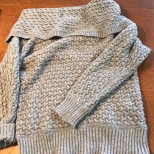 Grey knit sweater with hooded neck